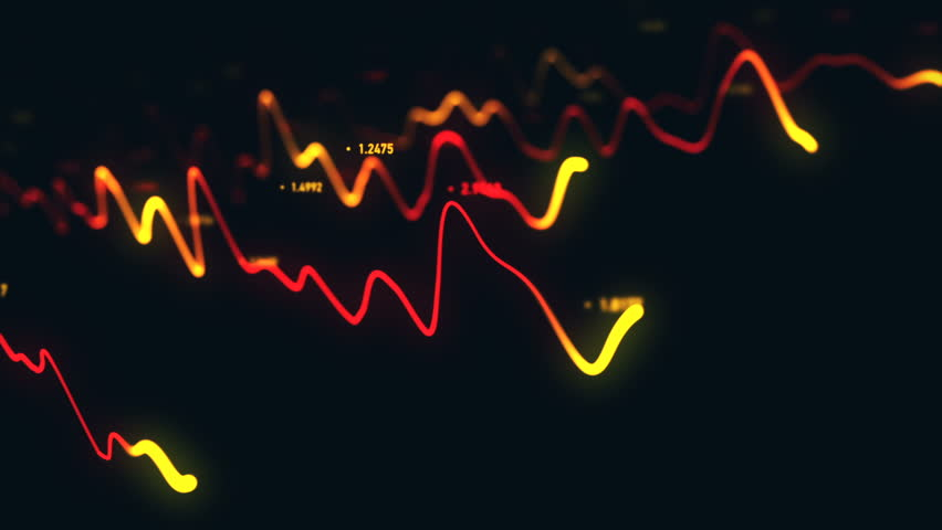 Animation growth of abstract charts with changing values of check points on dark background. Animation of seamless loop.   Shutterstock HD Video #1022110594