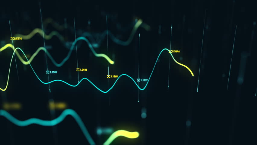 Animation growth of abstract charts with changing values of check points on dark background. Animation of seamless loop.   Shutterstock HD Video #1022110624