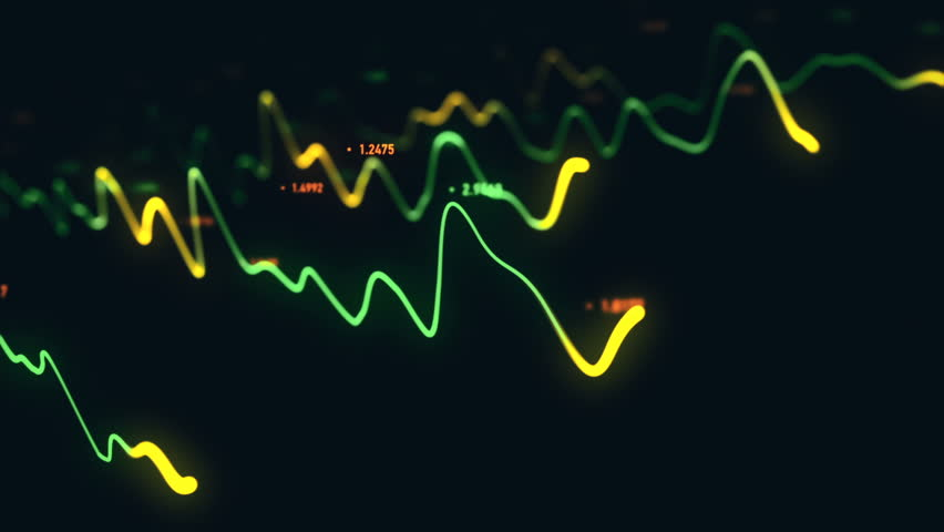 Animation growth of abstract charts with changing values of check points on dark background. Animation of seamless loop. | Shutterstock HD Video #1022111044