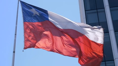 National flag of Chile flapping in the wind.  4K slow motion.
