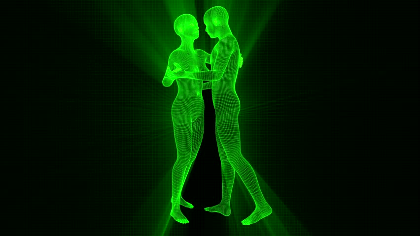 4K Futuristic Wireframe Android AI Shine Couple Dancing Seamless Loop   Shutterstock HD Video #1022139214