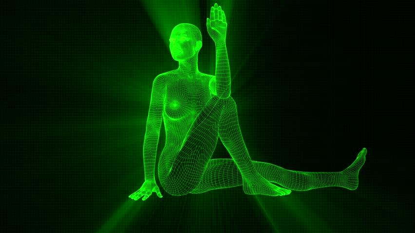 4K Futuristic Android AI Woman Yoga Marichi Seamless Loop   Shutterstock HD Video #1022143204