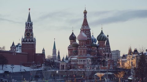 Red Square Moscow, Russia 10 January 2019, St Basil's Church, Red Square at Kremlin Christmas time with Christmas trees and many lights