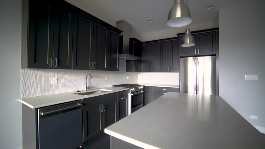 Modern Luxury Kitchen Interior Walk Stock Footage Video 100
