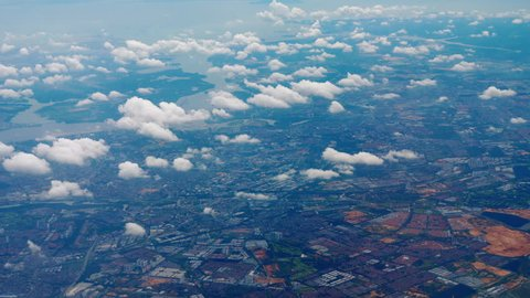 Aerial view Singapore and Malaysia border area, view from departing aircraft