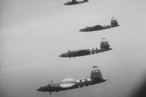 CIRCA 1944 - Aerial attacks lay the groundwork for D Day.