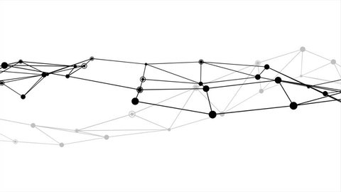 Abstract futuristic dot circle and line network structure motion graphic with black color white background. Computer network connection digital technology animation concept.