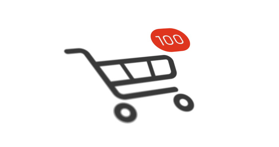 Animation shopping cart icon with counter added online commodity on white background. 4k footage with alpha matte | Shutterstock HD Video #1022298664