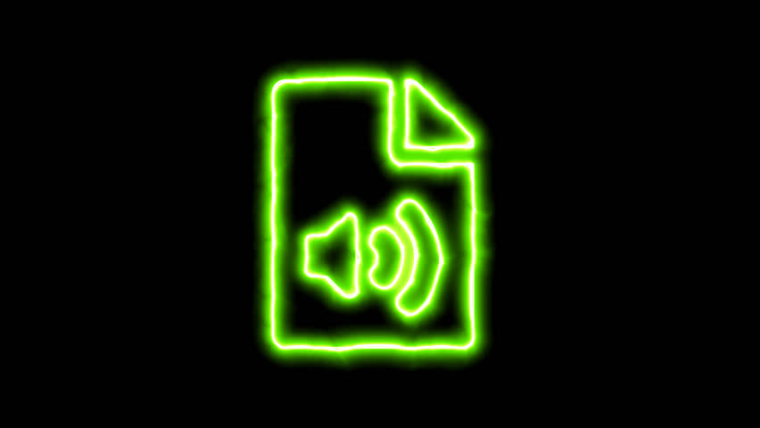 The appearance of the green neon symbol file audio. Flicker, In - Out. Alpha channel Premultiplied - Matted with color black | Shutterstock HD Video #1022314744