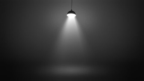Stage with spot lighting single swinging lamp, shining empty monochrome scene for show on the dark gray brutal background. Looped 4K motion graphic.