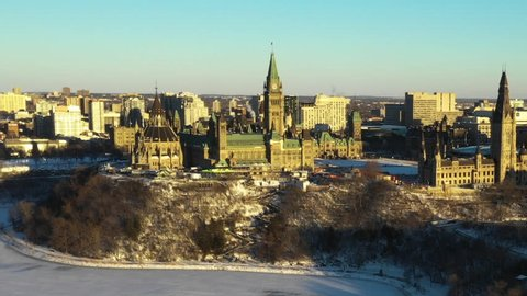 Aerial view of winter snow covered Ottawa Canada downtown near Parliament Hill