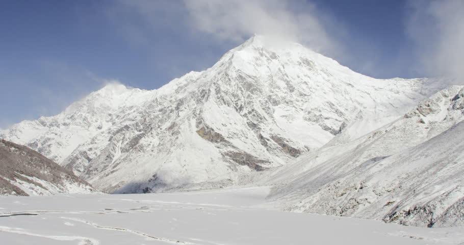 Mount Everest wide shot POV view of himalayan snowcapped rock mountains in Nepal and Tibet