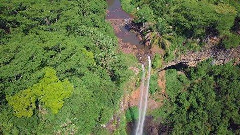 Chamarel waterfall in Mauritius. Flight around watefall.