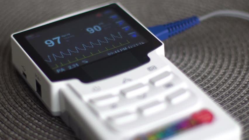 EKG monitor in hospital. Blood oxygen saturation, heart rate.   Shutterstock HD Video #1022415064
