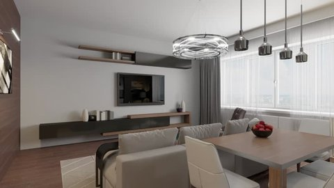 3D circled the interior of the living room in a modern style