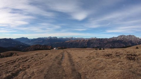 Hyperlapse walking at Monte Pora area in winter dry season. Orobie alps, Bergamo, Lombardy, Italy