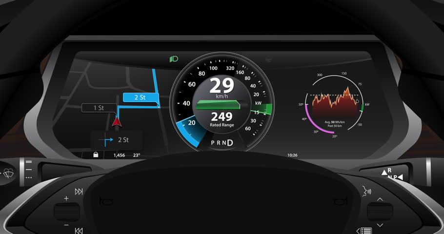 Electric Car Dashboard Display Closeup Stock Footage
