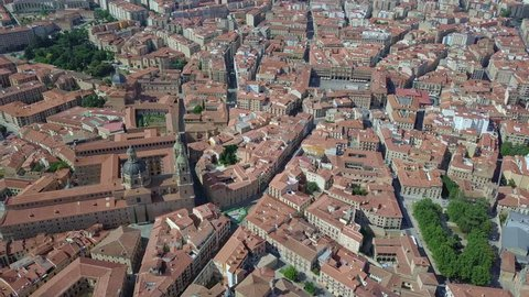 Aerial view of Salamanca with the main square and cathedral, Leon, Spain
