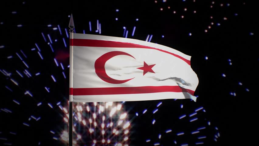 New year firework flag of the Turkish Republic of Northern Cyprus | Shutterstock HD Video #1022546584
