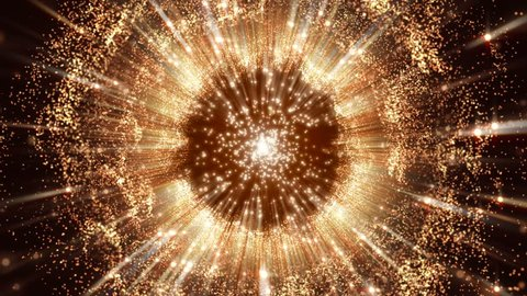 4K Abstract motion background animation gold and fiery shining particles sparks and magic dust fluctuating in wave circle or sphere flow with light rays and projections seamless loop