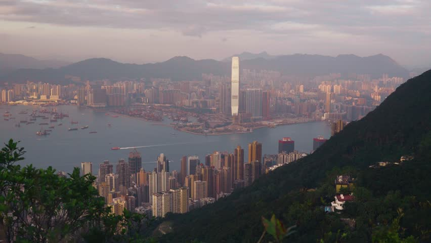 Hong Kong city. View from Mount High West to Kowloon. | Shutterstock HD Video #1022688964
