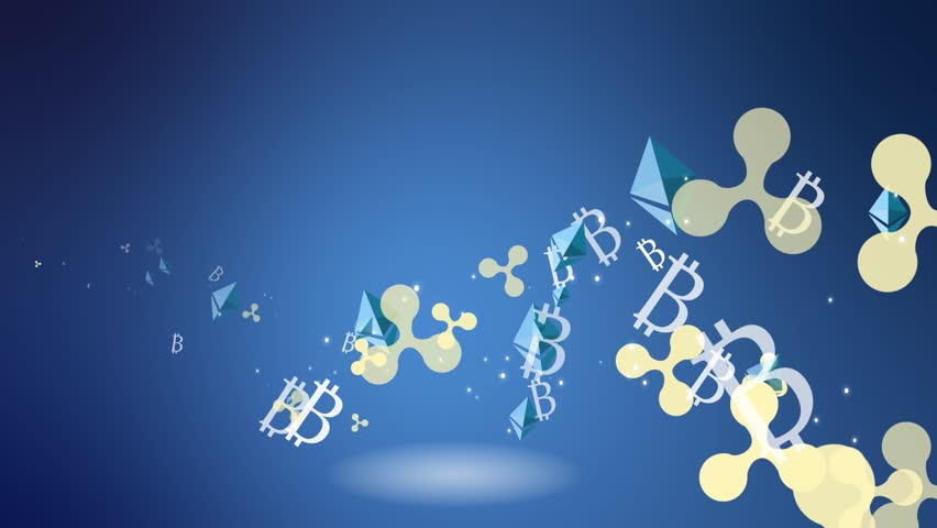 Flying in space silver currencies on a blue background. economic background. icons of world crypt. seamless loop. | Shutterstock HD Video #1022697994