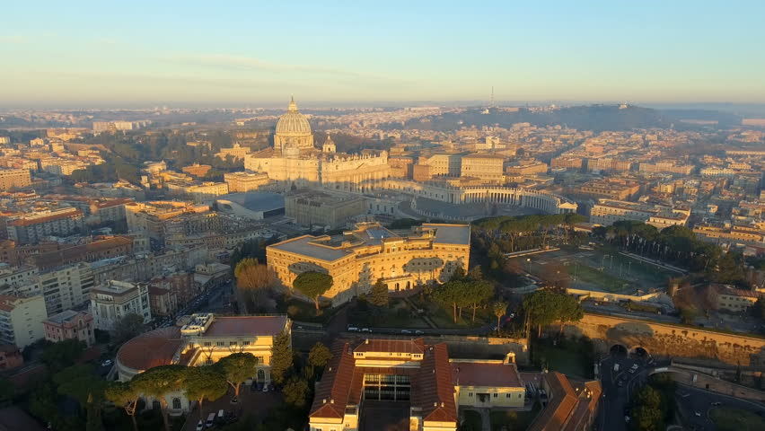 Aerial view of Rome skyline cityscape with Vatican City landmark at sunrise in Italy 4K Ultra HD | Shutterstock HD Video #1022734834
