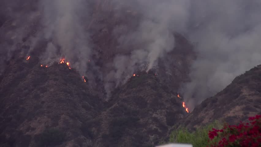 Wildfire Burning in the Hills Above Los Angeles - San Gabriel Complex Fire Circa June 2016.   Shutterstock HD Video #1022737354