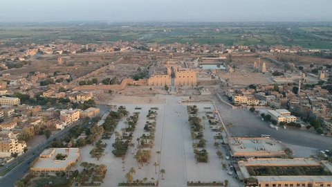 Drone footage of river Nile, Karnak temple and city Luxor in Egypt