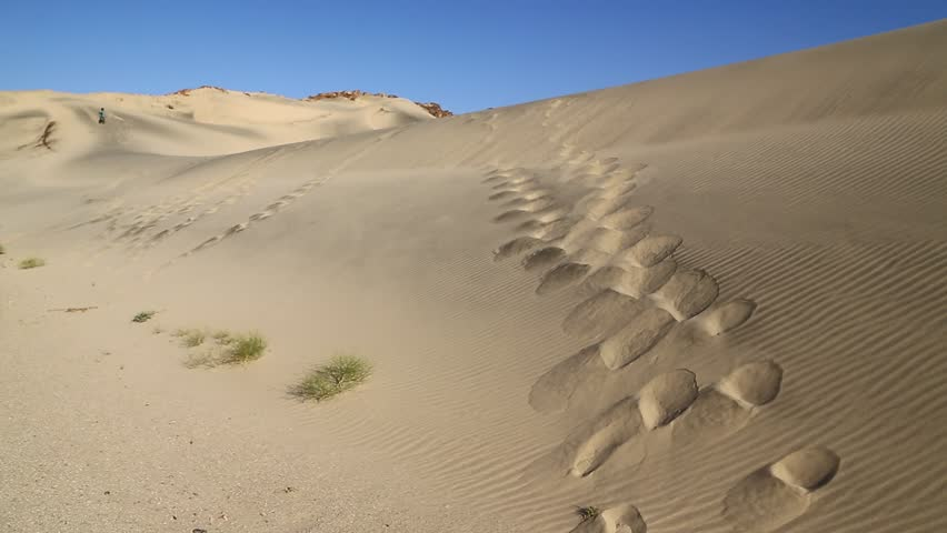 In the middle of the desert rock and track like concept of wild and nature scenic land   | Shutterstock HD Video #1022804944