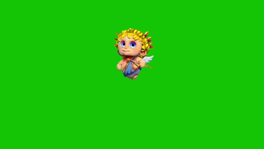 Cupid Happy Valentine's day Flies Green Screen 3D Rendering Animation | Shutterstock HD Video #1022820364