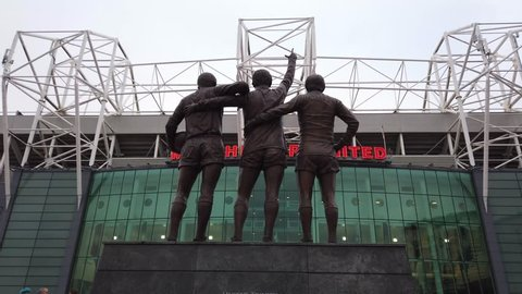 United Trinity statue at Manchester United Football Ground in Old Trafford - MANCHESTER / ENGLAND - JANUARY 1, 2019