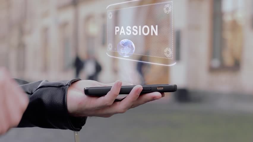 Male hands show on smartphone conceptual HUD hologram Passion. Man with the future technology mobile holographic screen on blurred background of the university