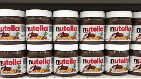 TERENGGANU, MALAYSIA - Jan 24, 2019 : Aisle view of Nutella chocolate spread in supermarket shelf. Nutella is always on of the most famous ambassador of made in Italy in the world.