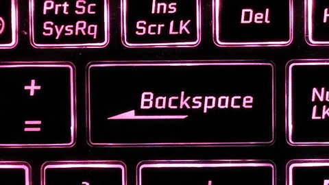 Focus on Backspace, positioned at top left rules of thirds, showcasing alphabets on keyboard with color switching
