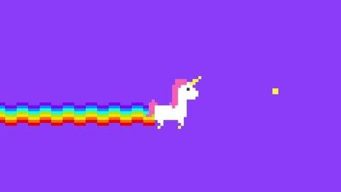 Pixel Art Unicorn Game. 4K Retro Game Style Fantasy Animation Background.
