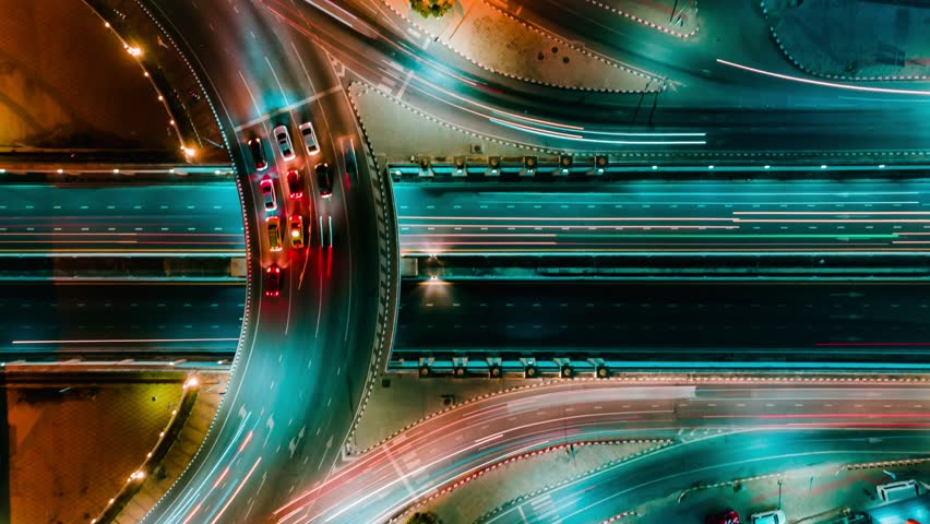 Time lapse expressway top view, Circle Road traffic an important infrastructure in Bangkok Thailand #1023081814