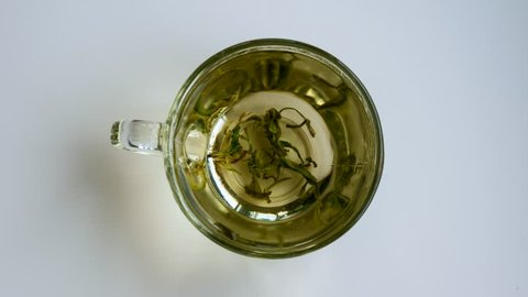Top view close-up tea leaves opening in hot water at transparent cup timelapse. Brewing herbal green or black tea in mug at boiled water isolated at white studio background high angle