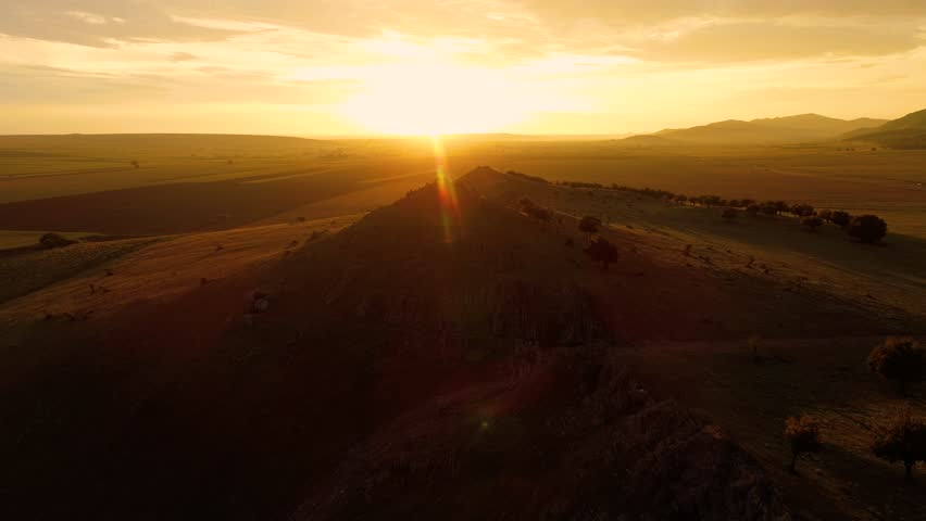 Landscape at sunset/sunrise  in summer - Dobrogea, Romania | Shutterstock HD Video #1023097264