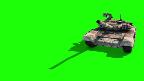 Tank Animated Tracks Military Rotates on Itself Front Green Screen 3D Rendering Animation