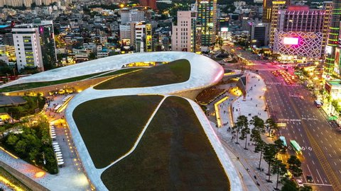 Timelapse of the Dongdaemun Design Plaza from day to night in Seoul,South Korea.(DPP)