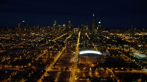 Aerial Chicago USA sunset night United Center sports Arena Stadium Chicago Bulls Chicago Blackhawks Baseball cityscape city building travel Grid system RED DRAGON