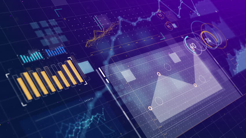 3D animation of 2D vector graphics, graphs and charts across a screen showing data visualizations and information. Created in 4k. | Shutterstock HD Video #1023269464