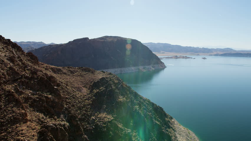 Aerial landscape view of Lake Mead a scenic desert river valley remote Wilderness a travel destination Las Vegas Nevada USA RED WEAPON | Shutterstock HD Video #1023284374