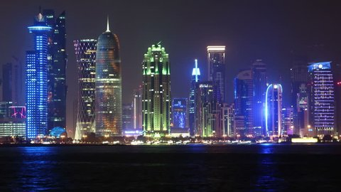 QATAR, DOHA, MARCH 20, 2018: 4K night panorama timelapse of financial centre in Doha - capital and most populous city in Qatar, West Bay, Persian Gulf, Arabian Peninsula, Middle East