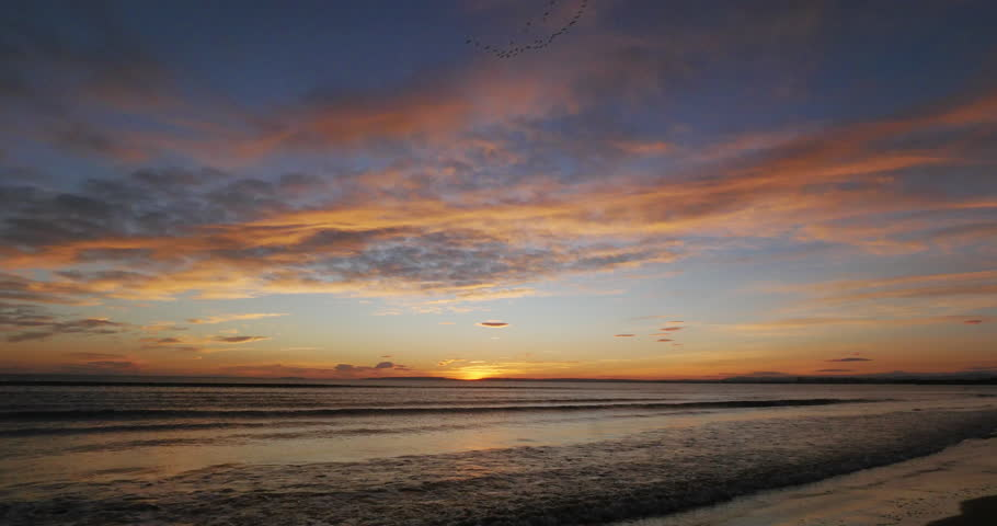 Ocean at Sunset, Camargue in the South East of France, Time Lapse 4K #1023476794