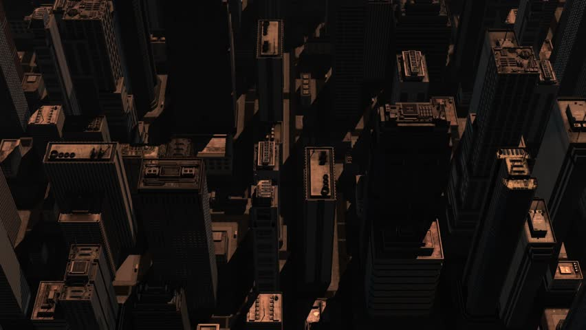 Straight overhead aerial view of 3D City Skyscrapers Skyline Business Background. (Clip 3/3)