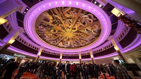 Macau, DEC 24: Timelapse of the famous show - Tree of prosperity, Dragon of fortune of Wynn Macau on DEC 24, 2018 at Macau