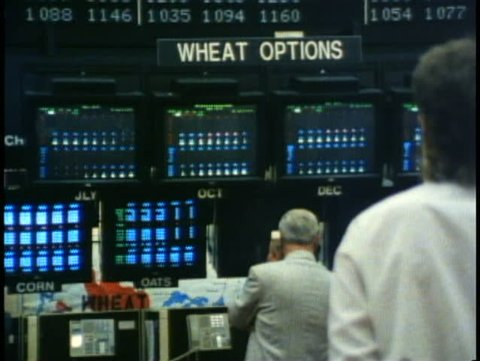 WINNIPEG, MANITOBA, 1990, Winnipeg Commodities Exchange, boards, stockbrokers