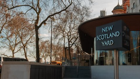 LONDON, circa 2019 - Static shot of the New Scotland Yard headquarters in Victoria Embankment, Central London, England, UK